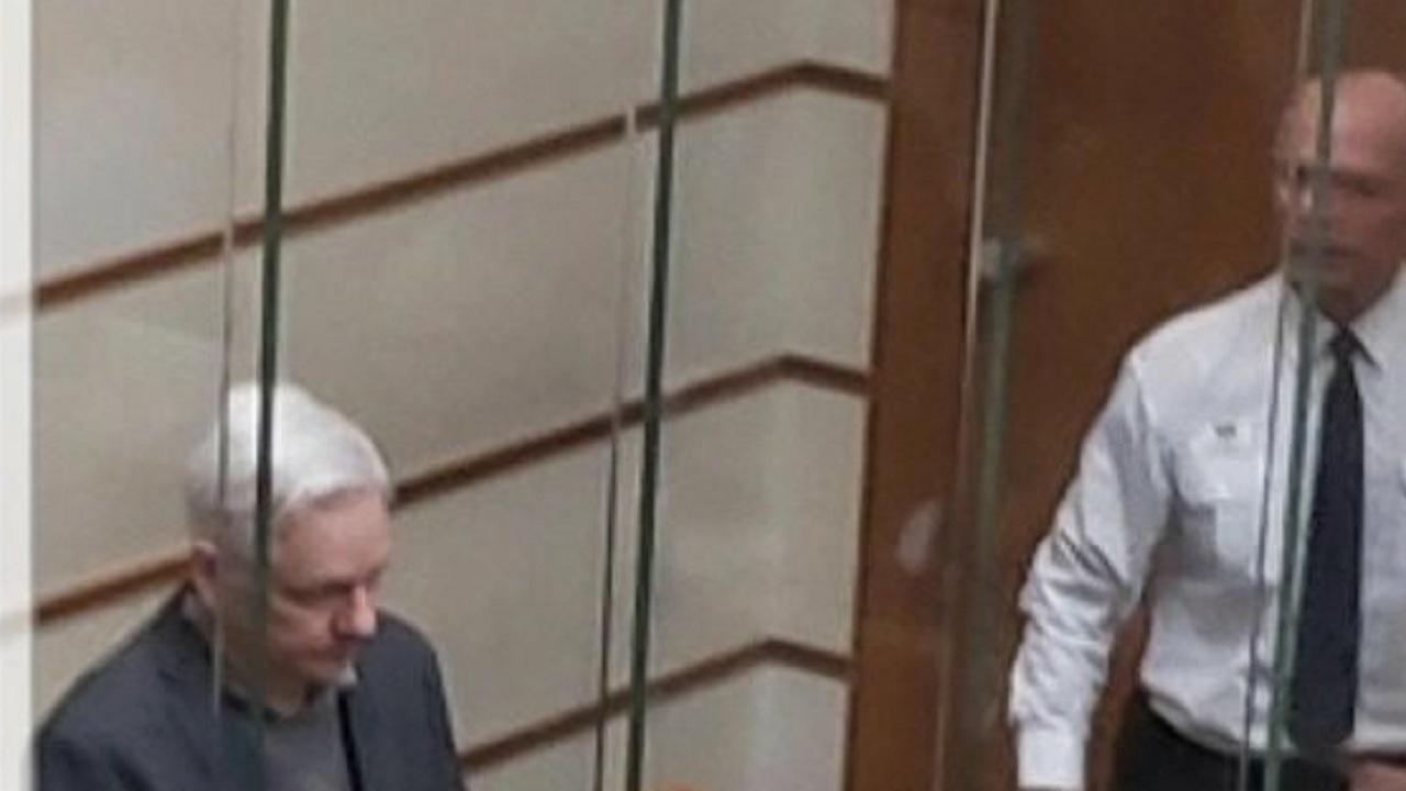 Julian Assange British court cage